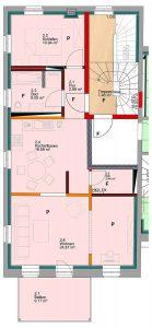 Grundriss der Wohnung im ersten Obergeschoss